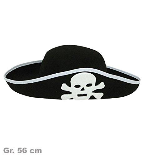 Carnaval chapeau de pirate 38402–noir/blanc-taille 56–neuve/dans son emballage d'origine