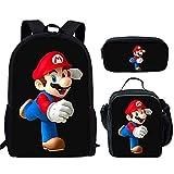 LIANGJI Mario School Bag 2021 Verano Super Mario Cartoon Anime Personalizado Mochila 3 unids Bolsas de la Escuela Set Niños Niños