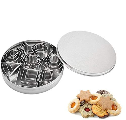 Tang Yuan 24 Mini cortadores de Galletas geométricos, Juego de cortadores de pastelería de Acero Inoxidable, Cortador de Galletas, Herramientas para Hornear de Bricolaje