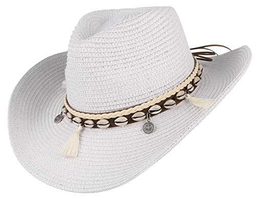 GEMVIE Sombrero Panamá de Playa Mujer Gorra de Sol Verano Caza Blanco