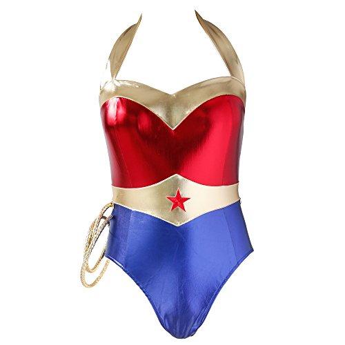 N-Dance Wonder Woman Warrior Costume Sexy Halter Backless Teddy Lingerie Bodysuit,Red,(6-8) SA