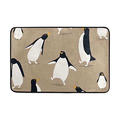 tyui7 Felpudo Pingüinos Lindos Que juegan Alfombras de Entrada Ligeras Antideslizantes al Aire Libre Alfombra de Piso para baño Entrada de Cocina 50x80 cm