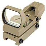 Feyachi 1x33mm Reflex Sight - Dark Earth Tan Scope Sight Both Red and Green & 4 Reticals for Picatinny/Weaver Rails