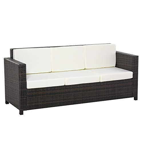 Outsunny Poly-Rattan Sofa mit Kissen 3-Sitzer Garten Loungesofa Metall Polyester Braun+Weiß 185 x 70 x 80 cm
