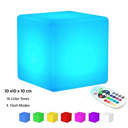 KEEDA LED RGB Beleuchtung, Außenleuchte, Aufladbare LED Licht, Stimmungslicht ,Nachtlicht mit Fernbedienung, 16 Farbwechsel-(Würfel,10x10 x10cm)