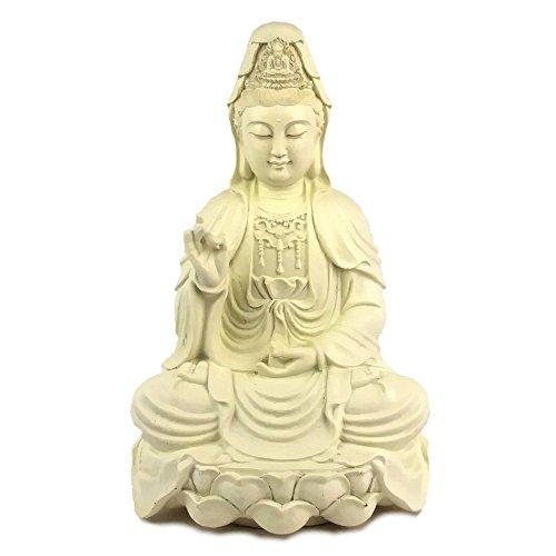 Buddhist Statues Quan Yin (Guanyin, Kwan Yin) on Lotus Statue Figurine