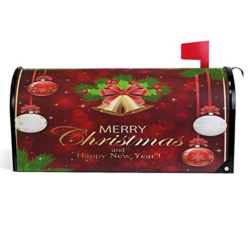 """Wamika Merry Christmas Bells Mailbox Covers Magnetic Xmas Balls Snowflakes Mailbox Cover Winter Bows Fir Tree Mailbox Wraps Post Letter Box Cover Garden Decorations Standard Size 18"""" X 21"""""""