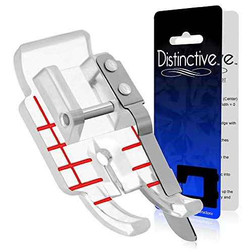 Distinctive Clear 1-4 (Quarter Inch) Quilting Sewing Machine Presser Foot with Edge Guide - Fits All Low Shank Snap-On Singer, Brother, Babylock, Janome, Kenmore, White, Juki, Simplicity and More!