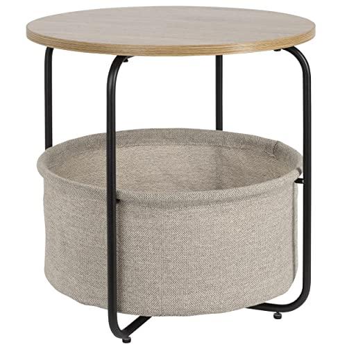 ONVAYA® Mesa auxiliar Charles | Mesa de café redonda con cesta | Ideal como mesa de sofá o mesita de noche | Diseño moderno | Estructura de metal con placa de madera y cesta de tela