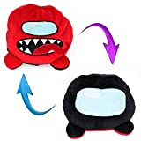 Among Us Reversible Double Sided Stuffed Plushie Plush Toy - Plush Reversible Plush Toy Double-Sided Flip for Game Fans, Expressions Doll Reversible Stuffed Plushie Toy (Black-RED)
