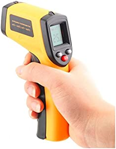 TOOGOO R  Digital Infrared Thermometer  Non-Contact Temperature Gun Instant-read with AAA Batteries Included  Emissivity 0 95 fixed  yellow