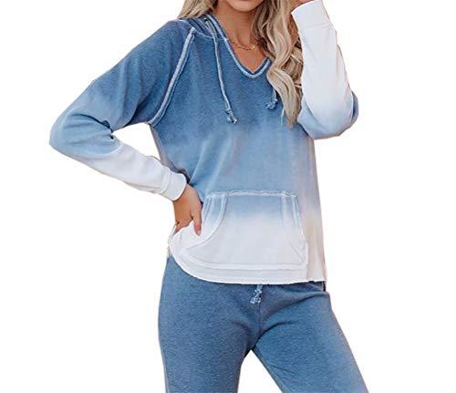 LACOZY Women's Hooded Loungewear Ombre Tie Dye Hoodie Sweatshirt Long Sleeve Hooded Drawstring Pullover Tops Shirt Loungewear Navy Blue XX-Large
