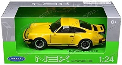 Welly New 1:24 W/B Collection - Yellow 1974 Porsche 911 Turbo 3.0 Diecast Model Car