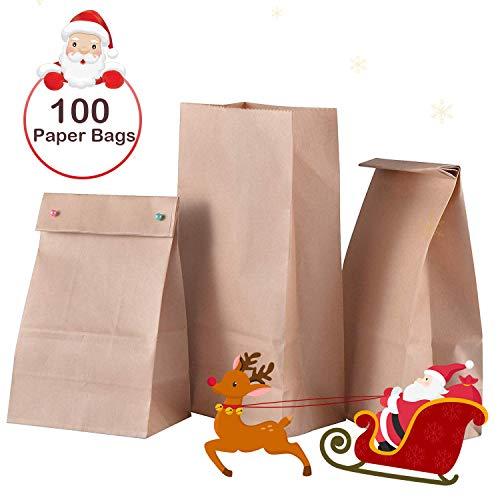 Zalava Braune Papiertüten, 100 Stücke Kleine Braune Tüten Geschenktüten Kraftpapiertüten für Weihnachten, Adventskalender, Gastgeschenke, Geburtstag, Hochzeit, Kommunion, Brottüten (100 Stücke)