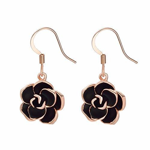 Yoursfs Sexy Rose Hook Earrings/Gorgeous Black Rose Earrings for Women