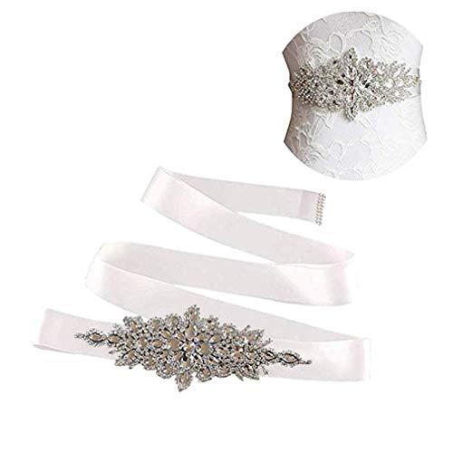 E-Clover Rhinestone Ribbon Sash Belt for Bridal Women's Wedding Dress Belt (Off White)