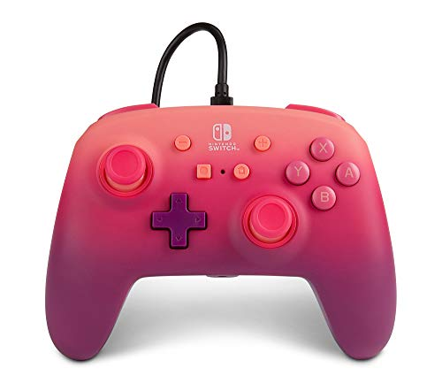 Mando con Cable Mejorado Powera Para Nintendo Switch. Fuchsia Fantasy, Rosa, Rojo, Morado, Mando, Mando Para Videojuegos con Cable, Mando de Juego