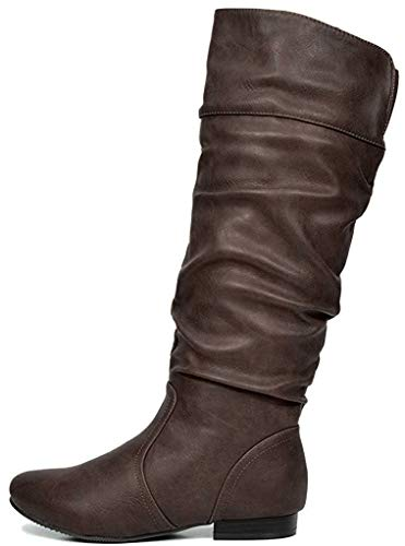 DREAM PAIRS Women's BLVD Brown Knee High Pull On Fall Weather Boots Wide Calf Size 8.5 M US