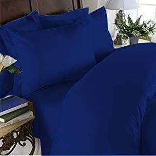 Home Bedding 5PC Sheet Set 600 Thread Count Split King 100% Pima Cotton Egyptian Blue Solid by NKT Bedding