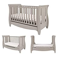 BIRTH TO 4 YEARS – Can be used as a Cot Bed from birth and then converted into a sofa or junior bed suitable up to 4 years ADJUSTABLE BASE - Three position adjustable mattress base, allowing easy access to little ones UNDER BED DRAWER - Classic sleig...