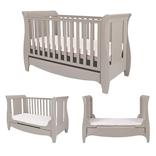 Tutti Bambini Roma Wooden Sleigh Cot Bed with Space Saver Under Bed Drawer - 120 x 60cm 3 Adjustable Positions (Truffle Grey)