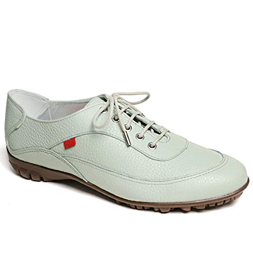 MARC JOSEPH NEW YORK Damen-Leder-Golf-Schuh, hergestellt in Brasilien, luxuriös, leicht, leistungsstark, Grn (Trommelleder/Natursohle Mint), 39 EU
