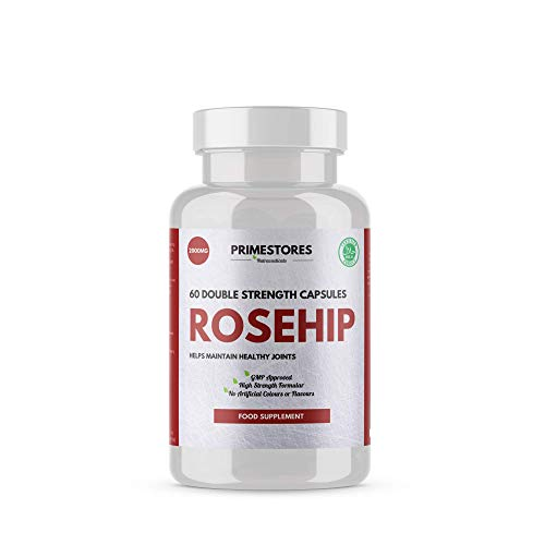 Rosehip Hip Health Tablets 2000mg - 60 Vitamin Powder Capsules - High Strength Halal Rose Hip Joint Health Supplement Pills by Primestores