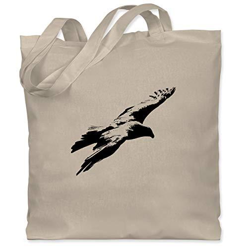 ShirtYouWant Tiermotive - Schwarzer Adler - Unisize - Naturweiß - Geschenk - WM101 - XT600 - Fairtrade Tasche aus 100% Bio-Baumwolle Jutebeutel Henkeltasche Baumwolltasche lange Henkel