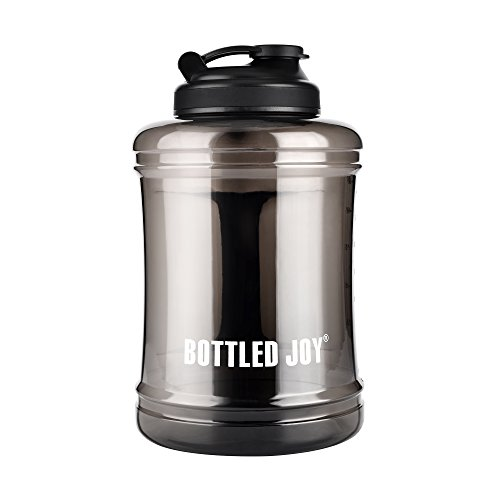BOTTLED JOY Water Jug Large Water Bottle with Handle BPA Free Lightweight Reusable Drinking Big Capacity Water Container for Outdoor Sports Gym Hiking Fitness 85oz 2500ml 2.5L (Transparent Black)