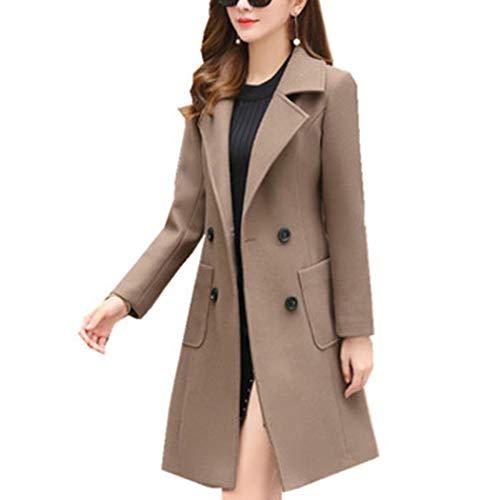 HANMAX Damen Mantel Zweireiher Revers Langarm Lange Wolle Coat Winterjacke