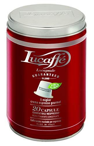 LUCAFFÉ 100%Arabica Gourmet 20 Capsule compatibili Nespresso in barattolo acciaio salva aroma Capsule caffè Arabica Gourmet Capsule caffè compostabili e ecologiche, tostatura gentile, aroma intenso