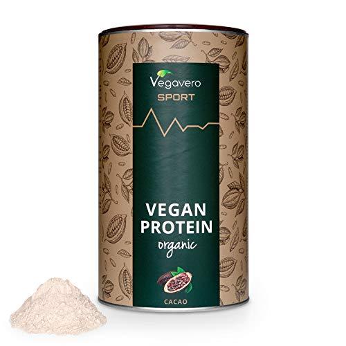 BIO Vegan Protein Powder Vegavero SPORT® | Proteínas Isolate de Guisante y Arroz | SIN GLUTEN – SIN SOJA | Suplemento Para Aumentar Masa Muscular | 500g Sabor Chocolate | Proteína Vegetal