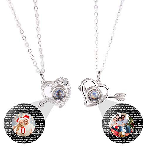 Personalized Photo Necklace Customized Projection Necklace with Pictures Heart Necklace 100 Languages I Love You Necklace Pendant Christmas Thanksgiving for Women(Silver Full Color 20)