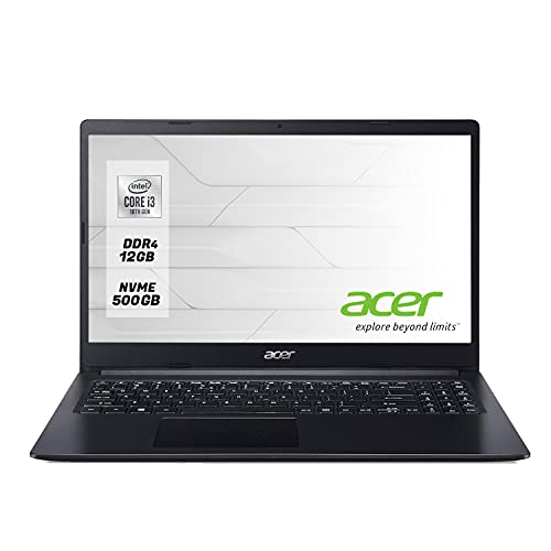"Acer Notebook pc portatile Display da 15.6"" INTEL i3-1005G1 Fino A 3.40GHz,Ram 12Gb Ddr4 SSd NVMe 500 Gb,Pc portatile,Hdmi,Wi fi,Bluetooth,Windows 10 professional"