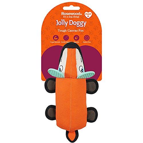 Rosewood 39034 Interaktives, Robustes Hundespielzeug Fuchs Mit Gummiohren, Orange, 32cm