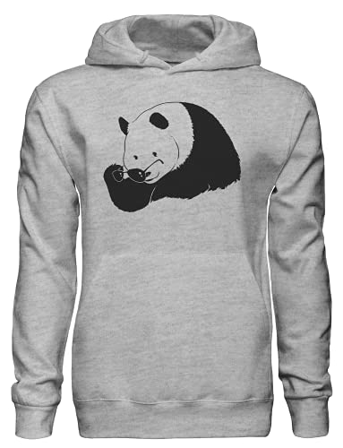 Deal with It Panda Putting On Gafas De Sol Sudadera Con Capucha Bnft, gris, S