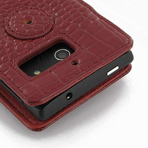 PDair Handarbeit Leder Book Hülle for Huawei Ascend W1 (Red Crocodile Pattern) - 2