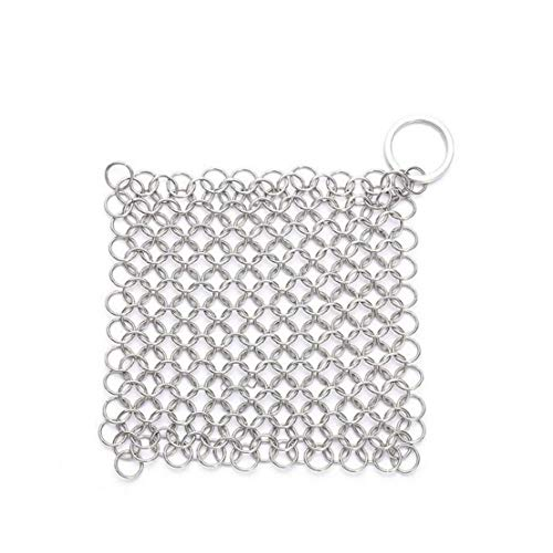 Cast Iron Cleaner Stainless Steel Cast Iron Cleaner Chainmail Scrubber for Cast Iron Pan Dutch Ovens Cast Iron Grill Scraper Skillet Scraper 1Pc Silver