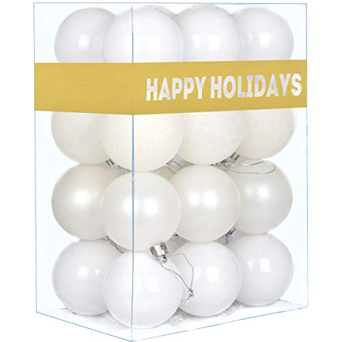 GameXcel 24Pcs Christmas Balls Ornaments for Xmas Tree - Shatterproof Christmas Tree Decorations Large Hanging Ball White 2.5' x 24 Pack