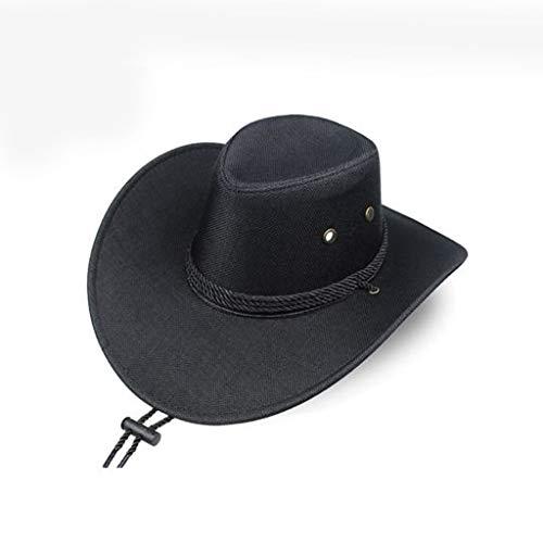 LLKK Sombrero de Vaquero Occidental,Sombrero para el Sol de los Hombres,Sombrero para el Sol al Aire Libre de Verano para Hombres,Sombrero de Pesca,Sombrero de Paja de Playa de ala Grande (1 Pieza)