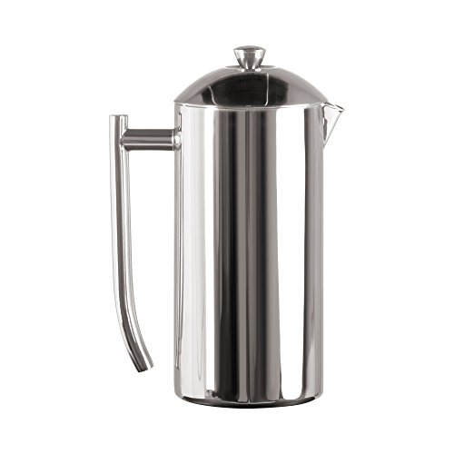 Frieling French Press Coffee Maker with Patented Dual Screen in Frustration Free Packaging, Zero Sediment, 18/10 Stainless Steel, No-drip Spout, Retains Heat 4x Longer Than Glass, Polished, 36-Ounce …