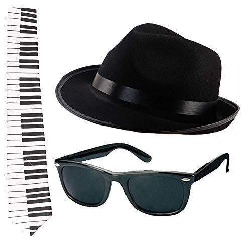 Juego de accesorios para disfraz de fantasía, color negro, 60 cm, con gafas negras y lentes negras y laterales negros y banda de música americana (sombrero de 60 cm)