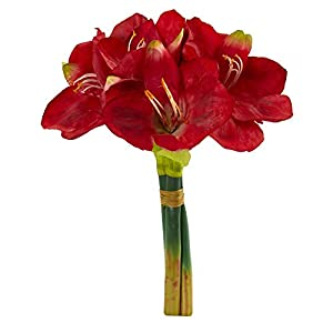 """Nearly Natural 2288-S3-RD 14"""" Amaryllis Bouquet Artificial (Set of 3) Silk Flowers Red"""