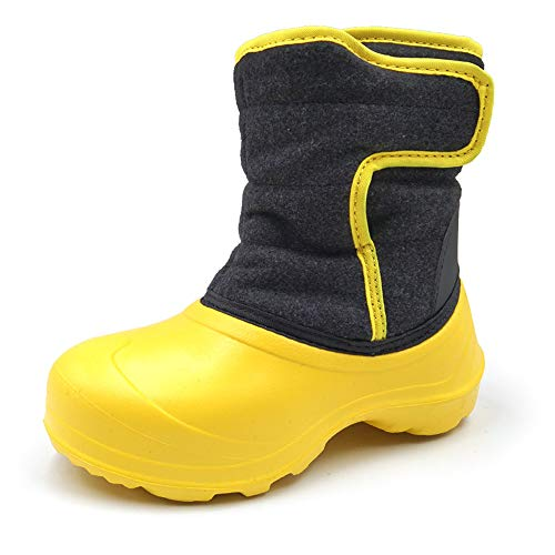 Amoji Kid Lining Snow Boots Warm Faux Fur Lined Boy Fuzzy Liner Furry Winter Shoes Baby Child Black 7.5-8 Toddler
