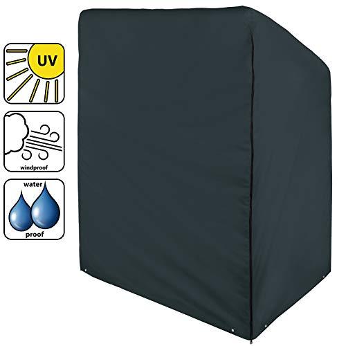 BB Sport Abdeckung Schutzhülle für Strandkorb mit den Maßen 175/140 x 135 x 105 cm, wasserdicht mit verstärktem Rand und Metallösen, Farbe:Granitgrau (PES)