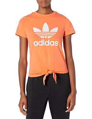 adidas Originals Camiseta con nudo Trefoil para mujer - naranja - Small