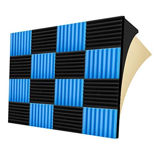 "LEIYER 12 pack Acoustic Panels 1.5"" X 12"" X 12"", Acoustic Foam with Gum, Studio Foam Wedges, High Density Panels, Soundproof Foam Panels (Black+Blue)"