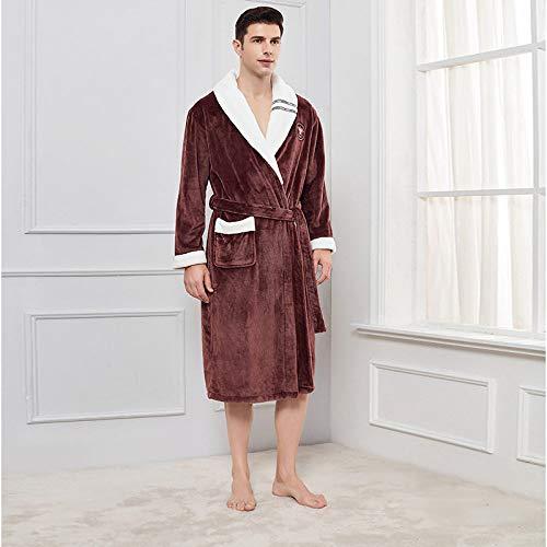 KTUCN Herbst Winter Bademantel, Männer Größe Loose Flanell Robe Home Nachthemd...