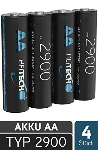 HEITECH 2900 Akku AA Mignon - 4× NiMH Wiederaufladbare Batterien mit min. 2650mAh & 1,2V - Akkus für Geräte mit hohem Stromverbrauch - Akkubatterien ideal für Blitzgerät, Wii & Xbox Controller