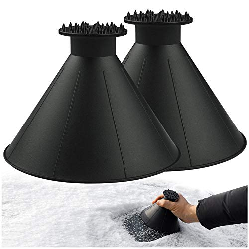 Magical Ice Scrapers for Car Windshield - 2 Pack Cone Magic Car Ice Scraper with Funnel, Round Snow Scraper for Christmas Gift